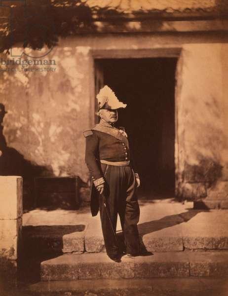 French Marechal Pelissier, Full-Length Portrait in Uniform and Hat, Standing in front of Building, Crimean War, Crimea, Ukraine, 1855 (b/w photo)