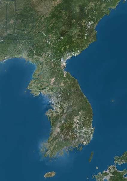 Korean Peninsula, Natural Colour Satellite Image (photo)
