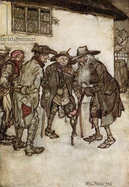 Rip van Winkle reunited with former friends after his twenty year sleep. Illustration, 1904, by Arthur Rackham for the story by Washington Irving.