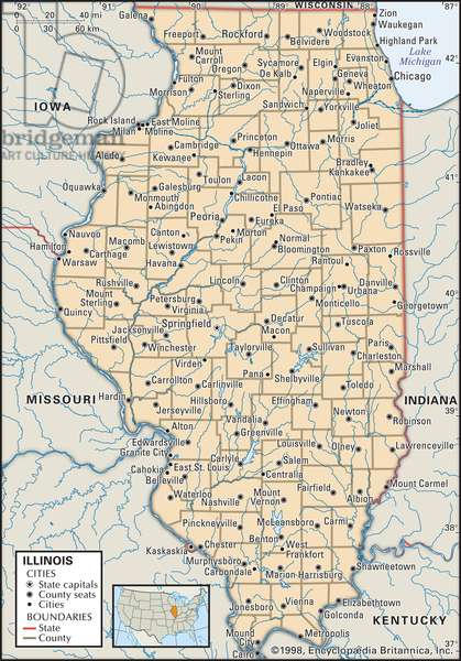 Political map of Illinois