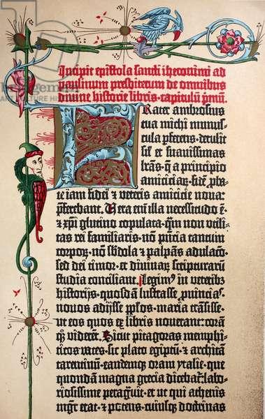 Beginning of the first Bible of Gutenberg