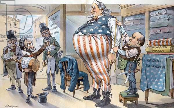 """A huge Uncle Sam getting a new outfit made at the """"McKinley and Company National Tailors"""", 1900"""