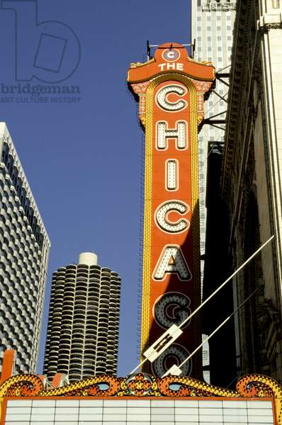 Illinois, Chicago.  Marquee Of The Chicago Theatre