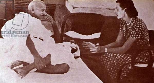Mohandas Karamchand Gandhi with Lady Edwina Mountbatten 1947