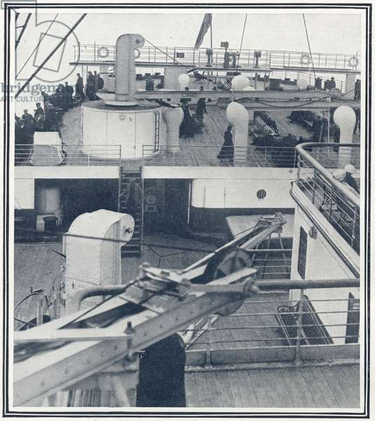The stern and sun deck of the Titanic where some second and third class passengers had their quarters, from 'The Sphere', 04 May 1912 (litho) (detail of 450847)