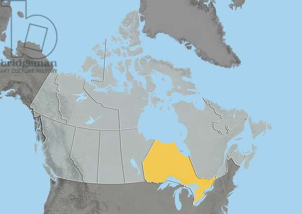 Province of Ontario, Canada, Relief Map