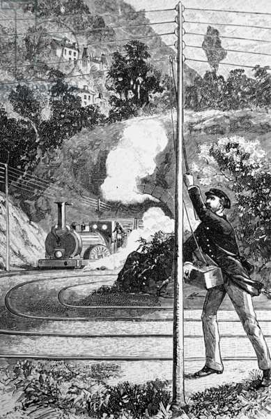 Sending an emergency signal on a railway telegraph, 1850