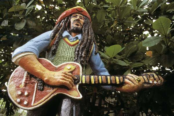 Jamaica, Kingston. Statue Of Bob Marley By Jah Bobby Outside Of Bob Marley Museum.