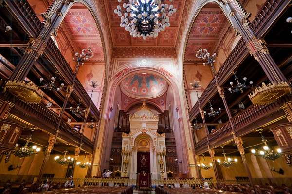Interior of the Great Synagogue on Dohany Street, Budapest, Hungary (photo)