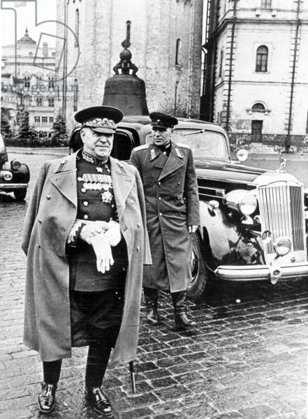 Marshall of the Soviet Union, Georgi Zhukov, in the Kremlin Before the Beginning of the Victory Parade in Moscow, USSR, 1945.