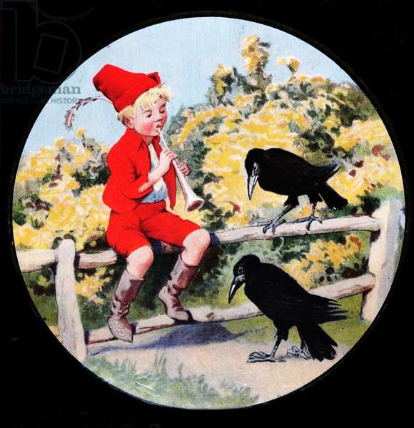 Boy playing a cornet to some crows: