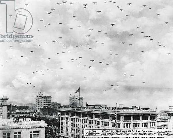 End Of WWI Celebration, San Diego, California, November 27, 1918 (b/w photo)