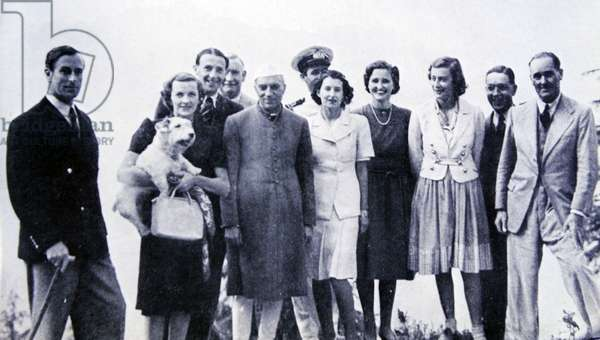 Pandit Nehru Prime minister of India with Viceroy Lord Mountbatten,
