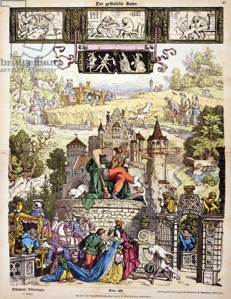 Print. Illustration shows scenes from the fairy tale Puss in Boots.