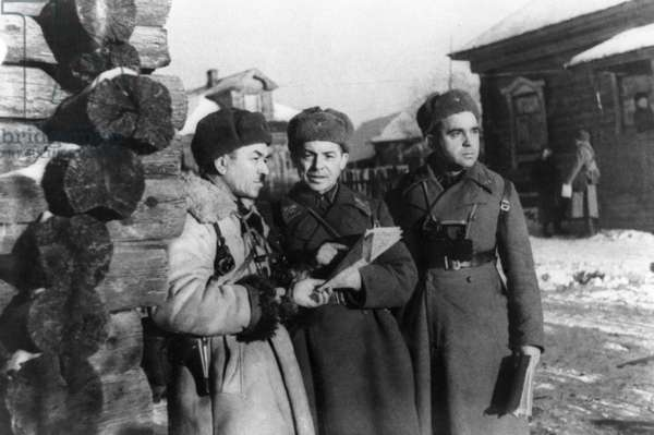Major General Ivan Panfilov, Head of 316Th Rifle Division, with Two Officers of his Staff, the Photo Taken on the Actual Day of his Death, 1941, World War 2.