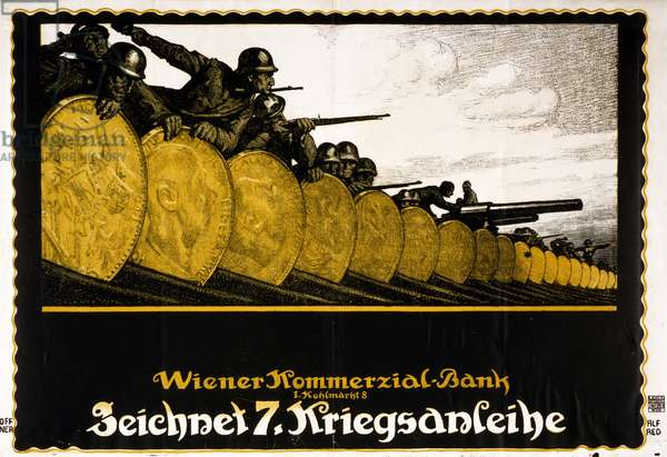Colour lithograph of First World War poster adverting the Austrian 7th War Loan
