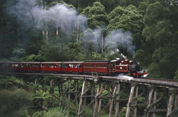 The famous Puffing Billy steam train, packed with people, making its way through the Dandenong Ranges, Eastern Victoria.