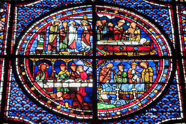Panels Depicting the Funeral of Lazarus, the Death of Lazarus & Mary Magdalene Washing the Feet of Christ in the Mary Magdalene Stained Glass Window in Chartres Cathedral, Chartres, France (photo)