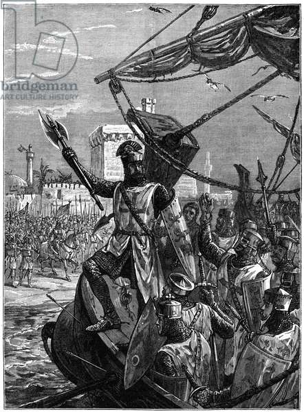 Richard I, Coeur de Lion, (1157-1199) landing at Jaffa (Joppa), September 1191. Richard, son of Henry II and Eleanor of Aquitaine, and second Angevin (Plantagenet) king of England, (1189-1199). During the Third Crusade (1189-1192) Richard led the crusaders against the great Muslim leader, Saladin. Richard is reported to have jumped into the water crying Cursed for ever be he who follows me not Richard held Jaffa until July 1192 when it fell to Saladin. Richard recaptured it on 31 July, and in September Richard and Saladin signed the Treaty of Jaffa guaranteeing a three-year truce. Wood engraving c1880.