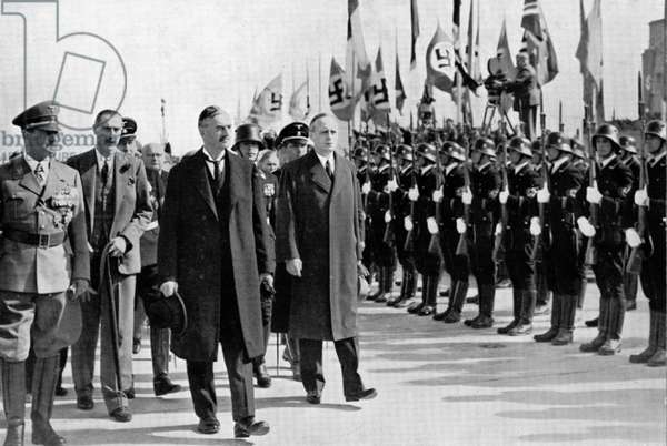 Chamberlain, Ribbentrop and Hitler at Munich, 1938. Photograph