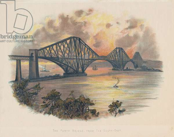 Forth Railway Bridge from South-East, c1890, Scotland. This bridge, built for the North British Railway Company, was begun in 1882 and opened on 4 March 1890. Cantilever and central girder design by John Fowler (1817-1898) and Benjamin Baker (1840-1907) who was also the engineer. William Arrol (1839-1913) the principal contractor. The steel for the girders was produced the by the Siemens-Martin process. Chromolithograph c1895.