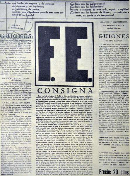 Spanish civil war: fascist Falange FE Newsletter