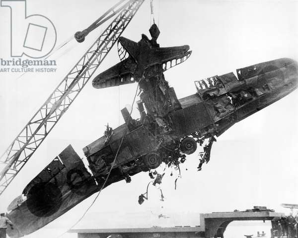 Pearl Harbor Plane Salvaged  (b/w photo)