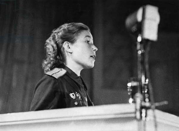 Tank Commander, Junior Lieutenant Alexandra Boiko, Speaking to Attendees of the Fourth Soviet Women'S Anti-Fascist Meeting on August 20, 1944 at the Tchaikovsky Concert Hall in Moscow.