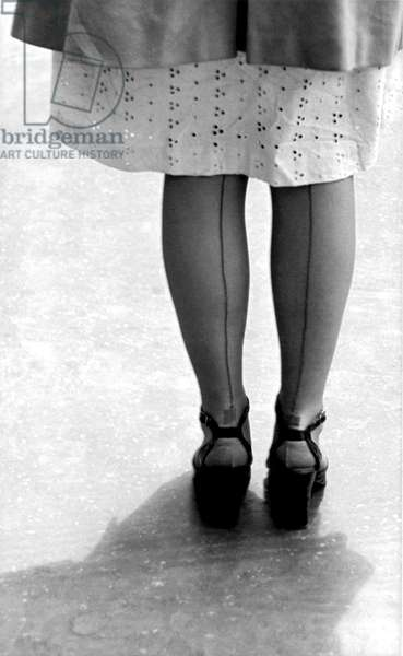 Woman Wearing Nylon Stockings (b/w photo)