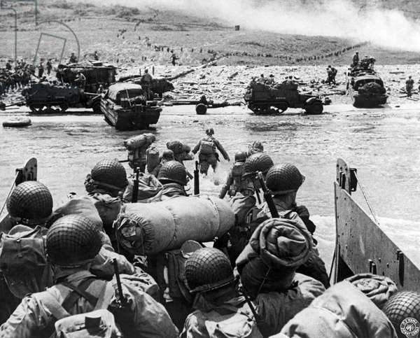 D-Day Invasion, 1944 (b/w photo)