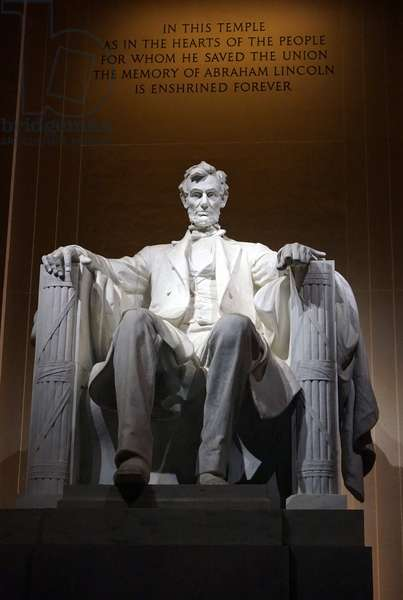 Statue of Abraham Lincoln within the Lincoln Memorial Monument