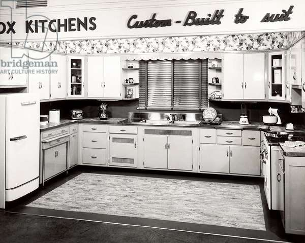 Vintage image of model kitchen (b/w photo)