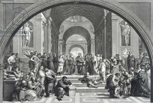 Engraving depicting the 'The School of Athens' after the fresco by Raphael