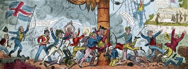 Cartoon Depicting a British Boarding Party, 1813