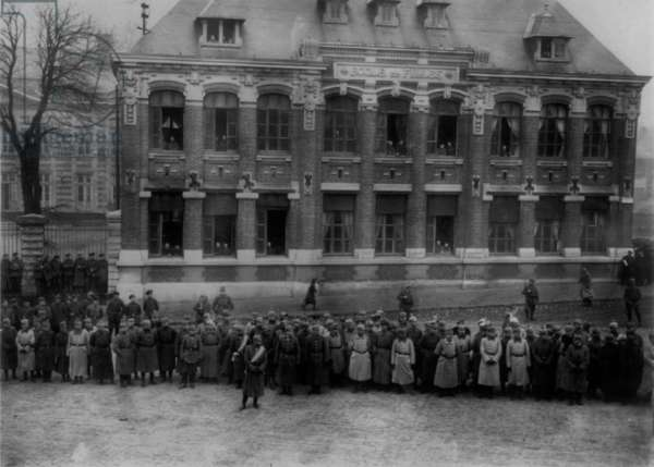 German Officers and Soliders in Front of Building, 1916 (b/w photo)