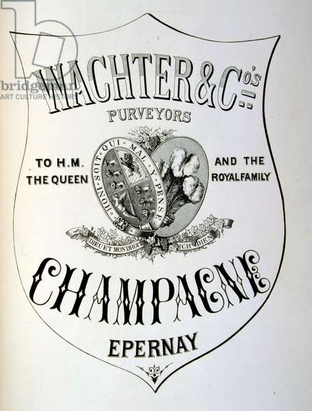 Advert for Wachter & Co purveyors of Champagne to Queen Victoria. 1877