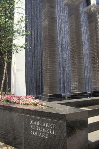 Georgia, Atlanta.   Waterfall At Margaret Mitchell Square
