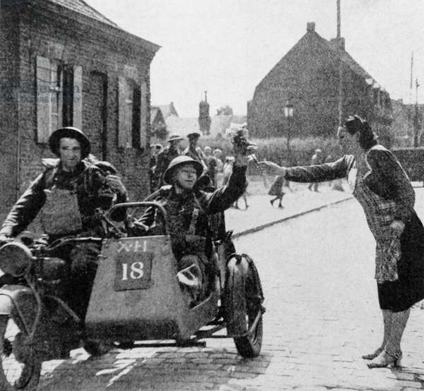 World war two: British soldiers greeted in Belgium during 1940, 1940