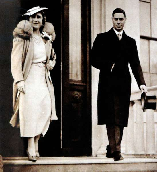 Queen Elizabeth and King George VI leave for a family christening