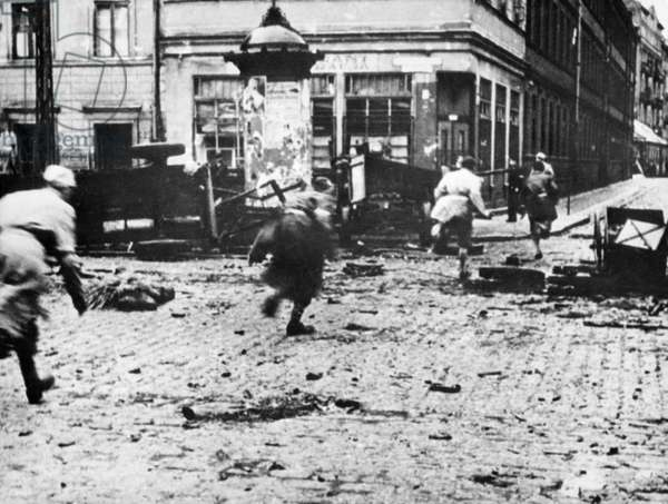 World War Ll, People, Under Fire, Running for Cover During the Warsaw Uprising in Poland, 1944.