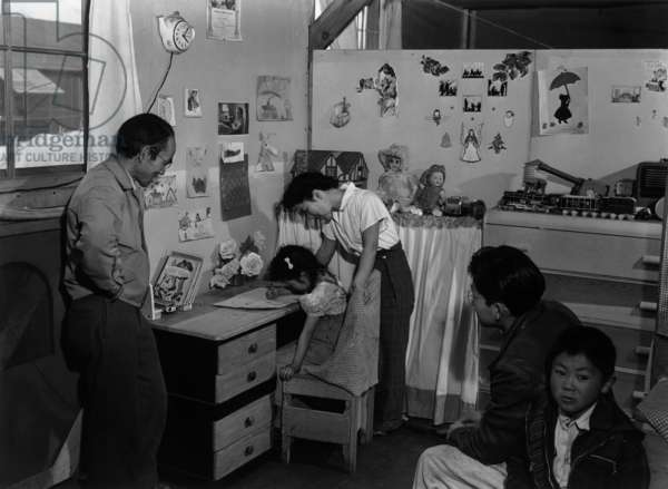 Tojo Miatake and family at the Manzanar Relocation Centre, California, 1943 (b/w photo)