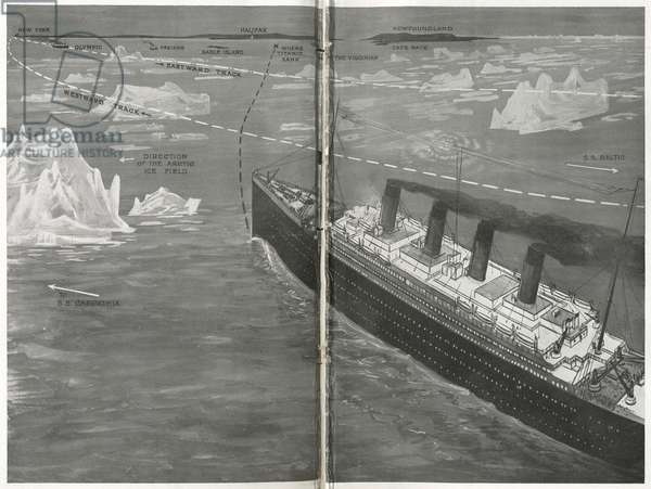 Titanic in the ice floe, from 'The Sphere', 20 April 1912 (litho) (detail of 450874)