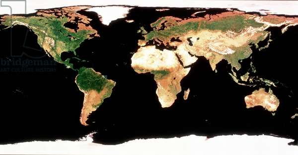 Photomosaic of Earth without cloud cover. NASA photograph