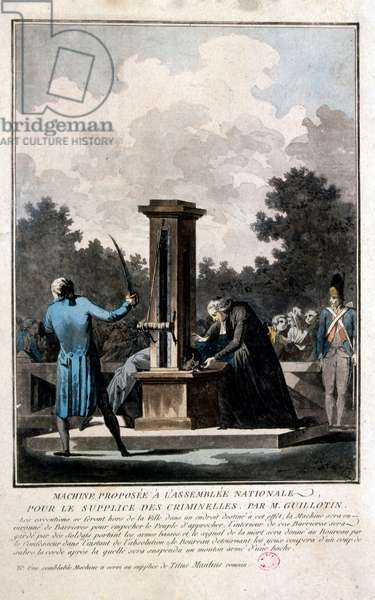 "A guillotine used for carrying out executions by beheading. The device is best known for its use in France, in particular during the French Revolution, where it was celebrated as the people's avenger by supporters of the revolution and vilified as the pre-eminent symbol of the Reign of Terror by opponents. On 10 October 1789, physician Joseph-Ignace Guillotin proposed to the National Assembly that capital punishment should always take the form of decapitation ""by means of a simple mechanism."""