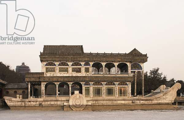 China, Beijing, 18th century Qing Yan Fang (Marble Boat), a lakeside pavilion in grounds of Yihe Yuan (Summer Palace)