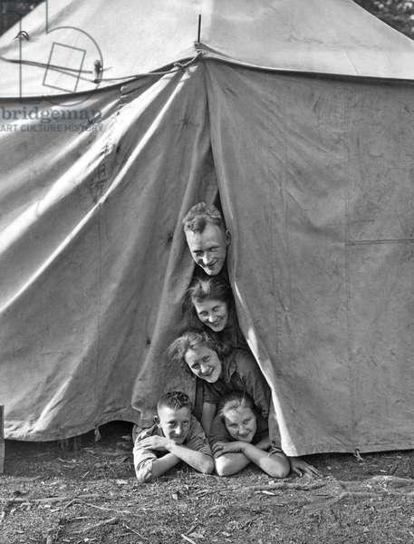 Camping Family Portrait, Banff, Alberta, Canada, c.1934 (b/w photo)