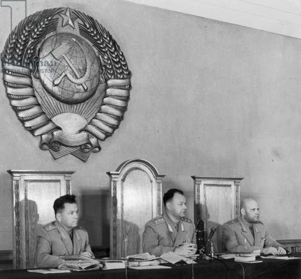 Penkovsky-Wynne Spy Trial, May 1963, (Left to Right) People'S Assessor S, K, Marasakov, Chief Judge V, V, Borisoglebsky, and People'S Assessor I, S, Tzigankov.