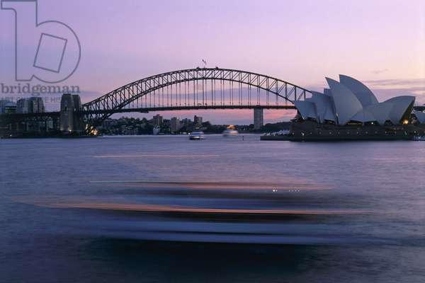 Australia, Sydney Opera House and Harbour Bridge at dusk