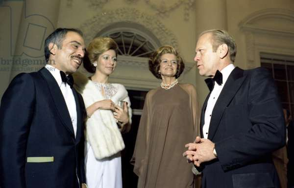 President Gerald Ford, First Lady Betty Ford with Queen Alia-al-Hussein and King Hussein of Jordan