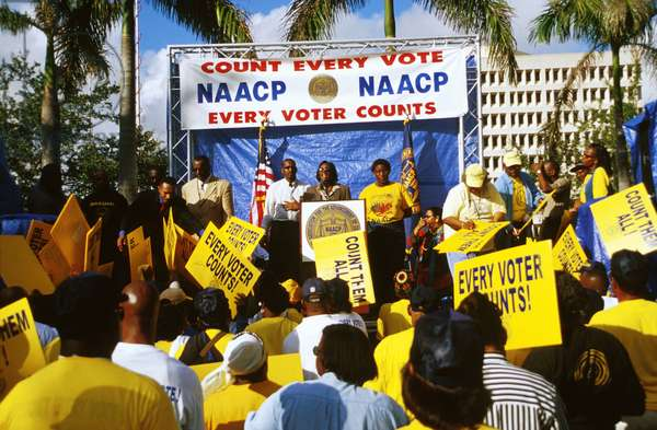 Florida, Miami.  Naacp Rally To Protest Florida Voting Irregularities Following 2000 Presidential Election